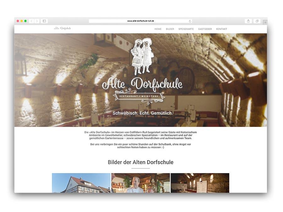 """One-Pager auf CMS-Basis für das Restaurant """"Alte Dorfschule"""""""