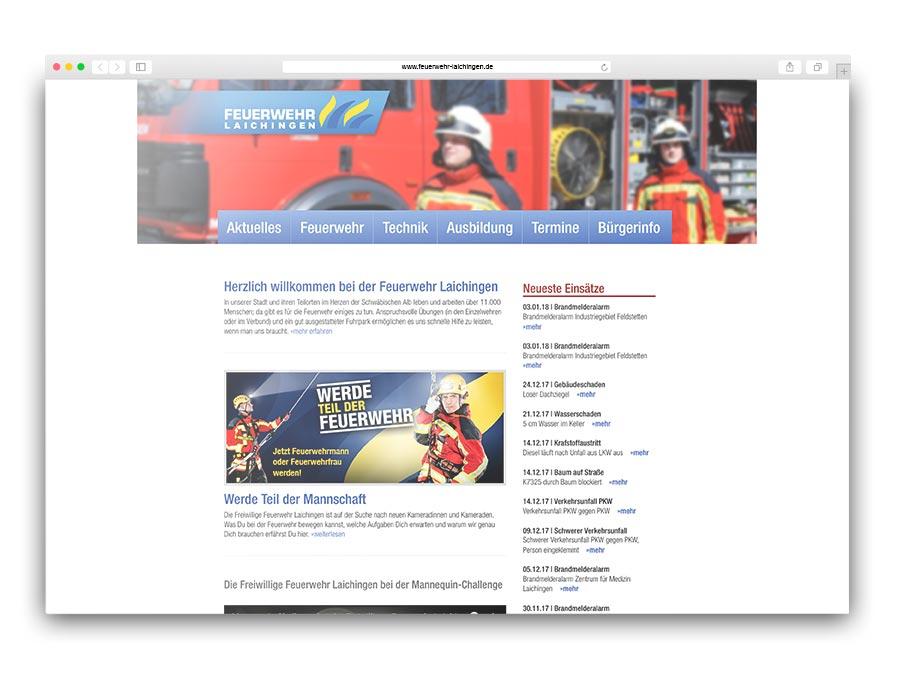 CMS-Redaktionssystem für die Feuerwehr Laichingen mit Berichtsmodul im Baukastenprinzip