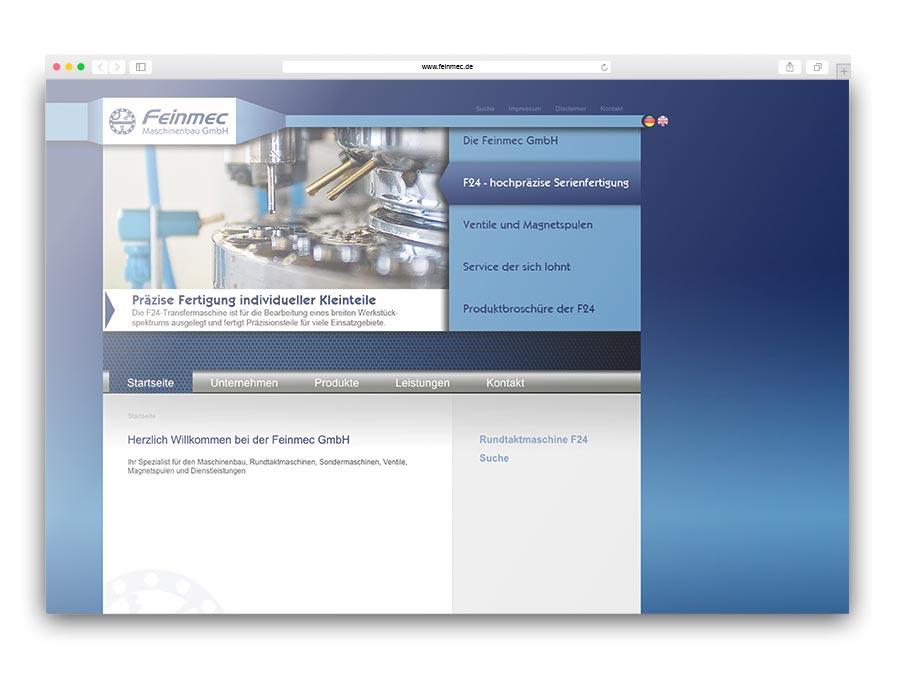 Feinmec GmbH - Unternehmenswebsite für den Maschinenbau