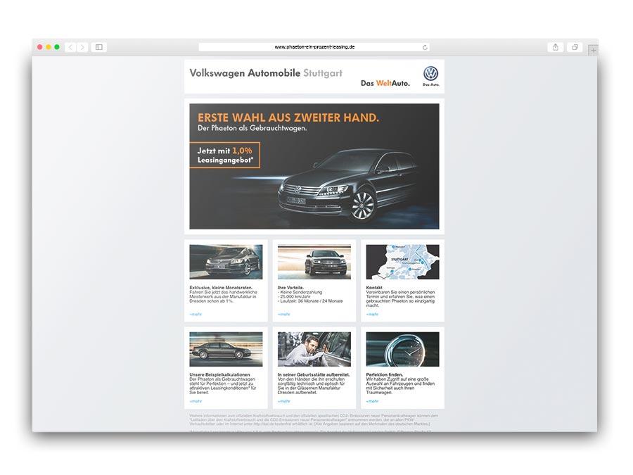 Microsite für Gebrauchtwagenangebote des VW Phaeton