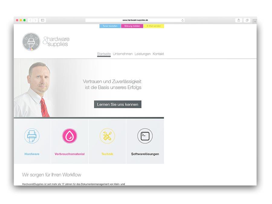 Unternehmenswebsite auf CMS-Basis für hardware&supplies