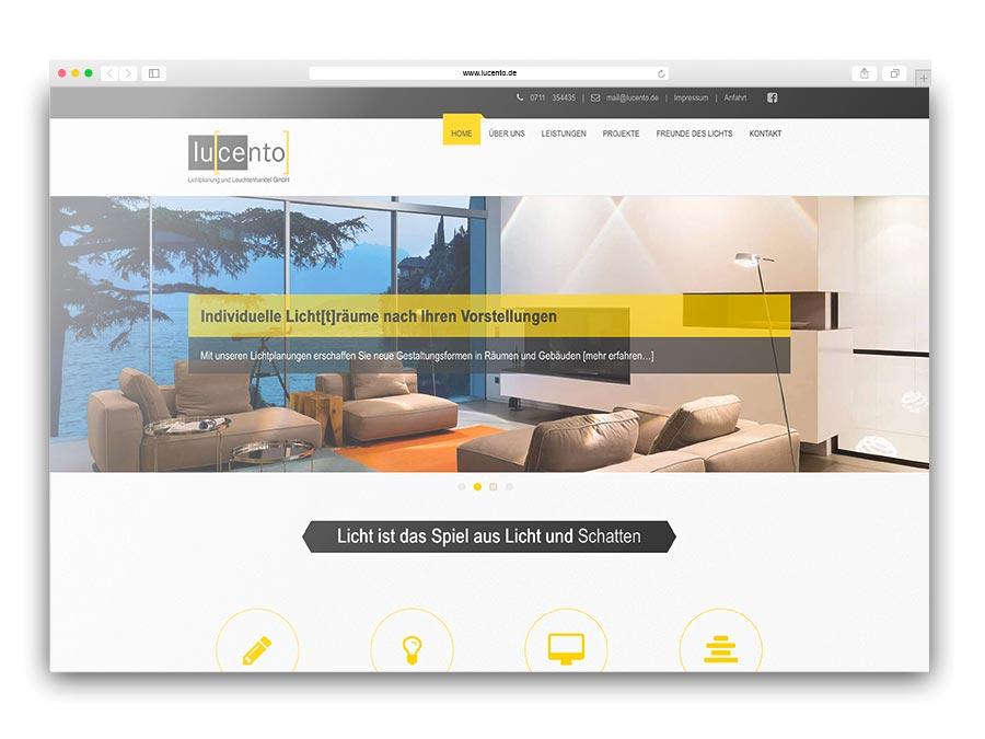 lucento - Unternehmenswebsite im Responsive Design für den Leuchtenhandel in Esslingen
