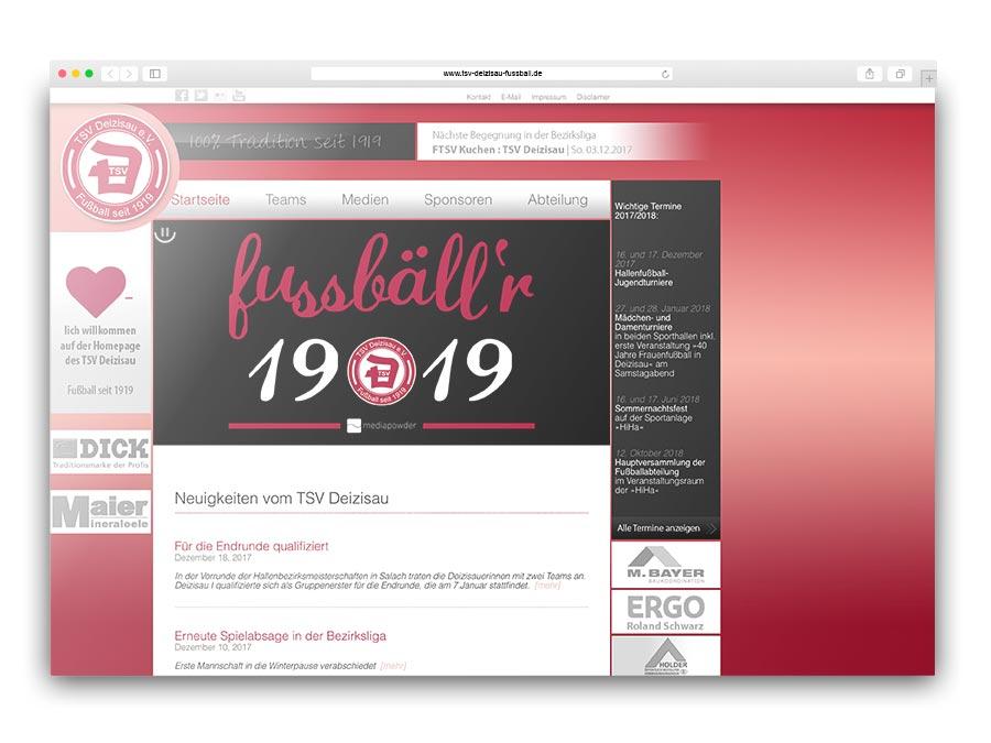 CMS-Redaktionssystem für die Fußballabteilung des TSV Deizisau